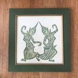 Reduced Outstanding Quality Vintage Thai Temple Rubbing W/two Green Dancers