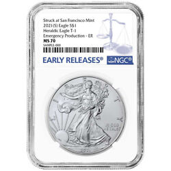 2021 S 1 American Silver Eagle Ngc Ms70 Emergency Production Blue Er Label