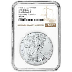 2021 S 1 American Silver Eagle Ngc Ms69 Emergency Production Brown Label