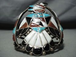 One Of Best Ever Vintage Zuni Turquoise Inlay Sterling Silver Bird Bracelet