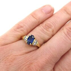 Seevideo Estate 1.03ct Sapphire And Diamond Engagement Ring 18k Yellow Gold Size 6