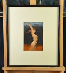 Framed Original Painting - Female Nude In Reds And Blues - Hodges Soileau