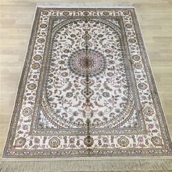 Yilong 4and039x6and039 Handknotted Silk Carpet Home Interior Antistatic White Rug Y024c