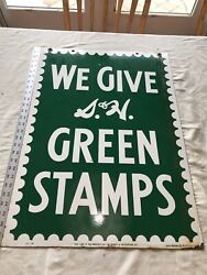 Vintage 1953 S And H Green Stamps Double Sided Heavy Porcelain Sign 20 X 28