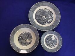 Currier And Ives 2 Plates And 1 Bowl Early Winter No Chips Or Cracking