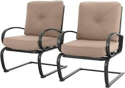 Patio Dining Chairs Set Of 2 With Cushions Outdoor Metal Rocking Chairs Beige