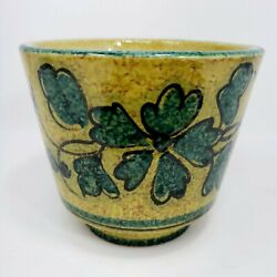 Jardinière Green Yellow Ceramic Art Vase Planter Made In Italy 1960s