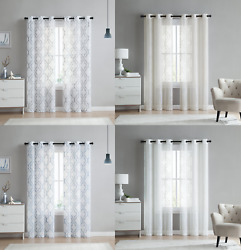 2 Pack Semi Sheer Embroidered Trellis Grommet Curtains - Assorted Colors And Sizes