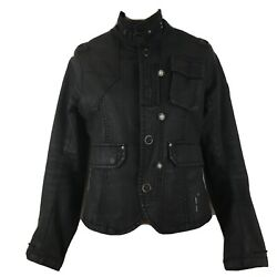 G Star Raw Ladies 3301 Cropped Biker Style Jacket Size Small With Snap Flaw