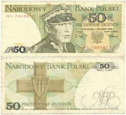 1988 Peopleand039s Republic Of Poland Veteran 50 Zlotych Note Cold War Era Relic