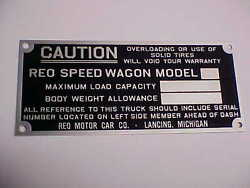 Reo Speed Wagon Caution Plate Acid Etched Aluminum 1920's - 1930's Flawed