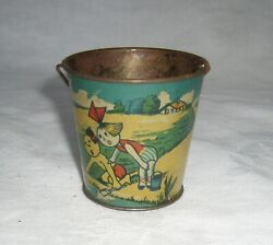 Antique 1920's Rare Early Rsa Spain Signed Tin Candy Container Beach Sand Pail
