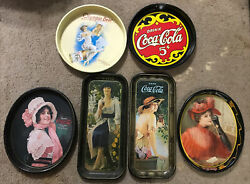 5 Coca Cola Advertising Metal Trays And 1 Olympia Beer C.o. Tray