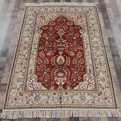 Yilong 4'x6' Red Handknotted Silk Home Decor Rug Red Oriental Home Carpets Y89ab