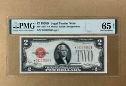 ✯star✯ 1928d 2 Red Seal Legal Tender Note - Pmg Gem Uncirculated Cu 65epq - C2c
