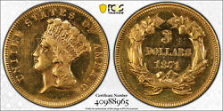 Better Date 1871 3.00 Three Dollar Gold Pcgs Polished-au Detail 40988965