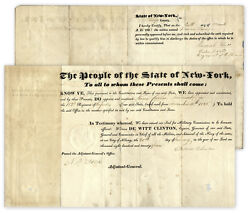 Dewitt Clinton Document Signed As Ny Governor