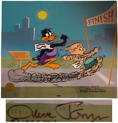 Chuck Jones Signed Daffy Duck And Porky Pig Cel