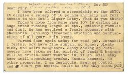 Hunter S. Thompson Postcard Letter From Big Sur