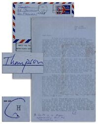 Hunter S. Thompson Letter Signed Re Helland039s Angels