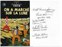 5 Astronauts Tintin Book About The Moon Landing Signed