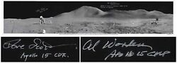Al Worden Dave Scott Signed Panorama 40.5and039and039 X 8.5and039and039 Photo