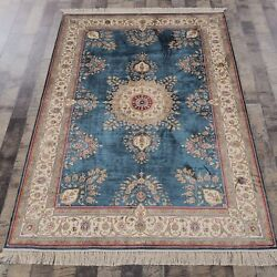Yilong 4and039x6and039 Handknotted Silk Carpet Antistatic Kid Friendly Blue Area Rug H01a