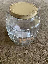 Vintage Barrel Glass Pickle Jar Tan Metal Lid Wire Bail Wooden Handle 8 Inches