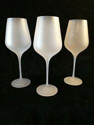 3 Belvedere Vodka Satin Frosted With Silver Tree Glass Water/goblet/wine Glasses