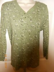 🔥 Cute Women#x27;s relaxed fit Top size 14 16 green flowers 3 4 sleeves Fashion Bug $7.99