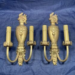 Pair Of High Quality Antique Yellow Brass Double Candle Wall Sconces 74a