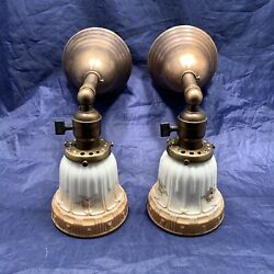 Pair Brass Early Electric Sconces With Antique Shades 72d