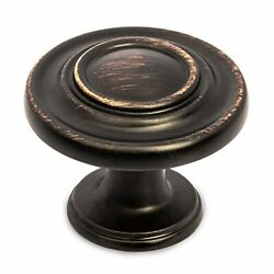 Oil Rubbed Bronze Kitchen Cabinet Knobs - Round Ringed Drawer Handles - 25 Pack