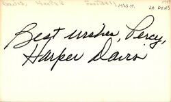 Harper Davis Signed Index Card 3x5 Autographed Bears Packers Miss. State 67760