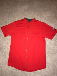 Md Mcdonalds Apparel Collection Employee Uniform Work Button Down Manager Red