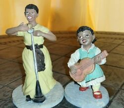 Vintage Black American Jazz Blues Singer And Young Girl With Guitar Figurines