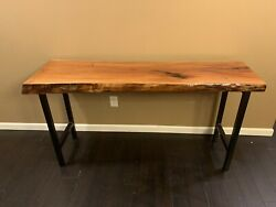 Mahogany Live Edge Epoxy Coated Accent Table Or Desk With Steel Legs