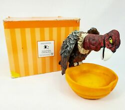 Rare Dept 56 Halloween Animated Lighted Vulture W/ Sound And Resin Candy Dish