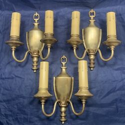 Set Of 3 Three Brass Antique Colonial Revival Double Candle Wall Sconces 103c