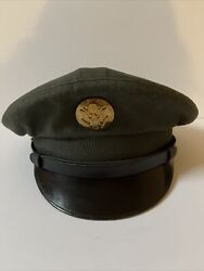 Vintage Mens Military Service Hat 1950andrsquos Green Army Wool Cap Size 6 7/8