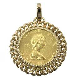 K24 / Pure Gold Maple Leaf Gold Coin 1/4 Ounce 1986 Coin Top Pendant K18 Rebi