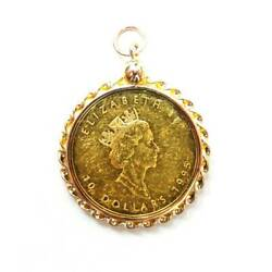 K24 Pure Gold Gold Maple Leaf Gold Coin 1/4 Ounce Coin Pendant Top Frame Rebi