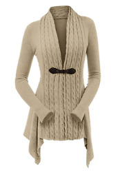 Denim And Co Cable Knit Long-sleeve Cardigan W/ Buckle Closure Mocha Heather 1x