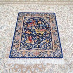 Yilong 3and039x4and039 Handknotted Silk Tapestry Hunting Animal Home Decor Area Rug Tj175a