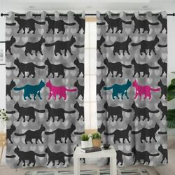 Love Heart Silhouette Cat Animal Pet Window Living Room Bedroom Curtains Drapes