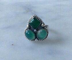 Ring Sterling Silver 925 And Green Agate  Size O 1763j