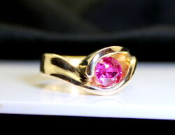 Gorgeous Custom-made 14k1 Carat Red Ruby Heavy Gold Womenand039s Ring Size 5 3/4