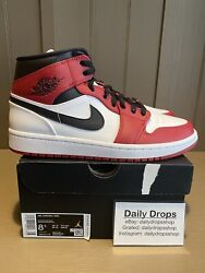 Jordan 1 Mid Chicago Size 8.5 Ds 100 Authentic 554724-173 White Gym Red Black