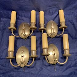 Four 4 Antique Brass Double Candle Wall Sconces W/ Pull Chain Switches 75d