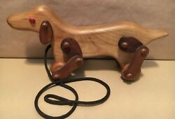 Michaud Toys Handcrafted Wooden Dog - Pull Toy - Movable Legs Nice